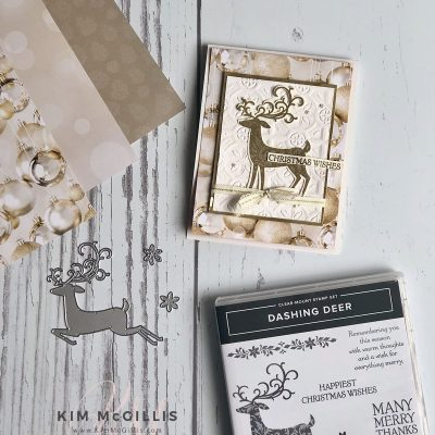 Monochromatic Dashing Deer Holiday Card